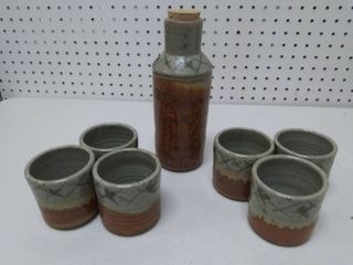 Vintage Stoneware Bottle and Cup Set Marked M