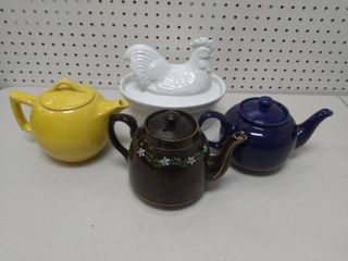 Chicken Dish and Three Teapots