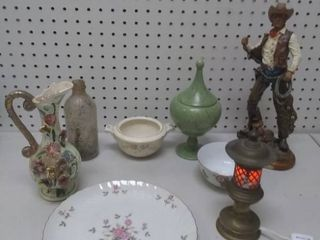 Mixed Decorative Housewares lot   Includes Vintage Brass light  Hand Painted lefton Plate and More