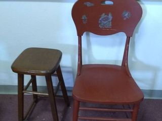 Vintage Wooden Chair and Stool