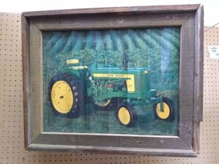 Framed John Deere Print on Tin
