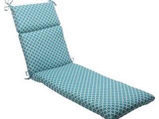 Outdoor Chaise lounge Cushion   Teal White Geometric