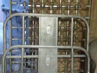 Vintage Metal Bed Set   Headboard  Footboard  Box Spring
