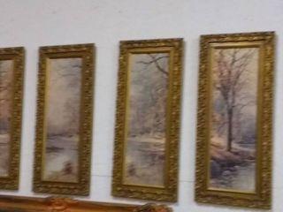 Set of 4 Vintage Framed Art Prints