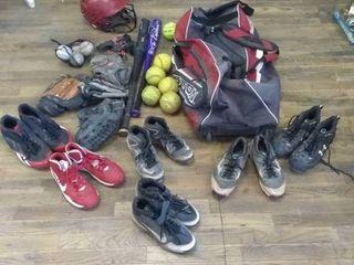 Assorted softball gear