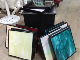 Stain glass picture frames and end table