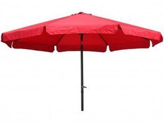 International Caravan St. Kitts 11.5 Foot Patio Umbrella with Tilt, Crank, and Aluminum Frame - Retail:$115.32 ruby red