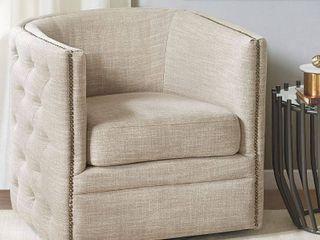 Madison Park Wilmette Cream Linen Upholstered Swivel Chair - Retail:$363.31