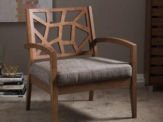 Baxton Studio Jennifer Modern Lounge Chair with 'Gravel' Fabric Seat- Retail:$214.49