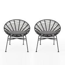 Jefferson Outdoor Wicker Dining Chairs with Cushions (Set of 2) by Christopher Knight Home- Retail:$229.99 grey and dark grey