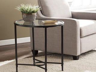 Quaker Metal/Glass Oval Side Table - Black