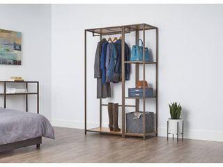 TRINITY Modular 2 Piece Set Bamboo Closet Organizer   Bronze Anthracite  Retail 251 76