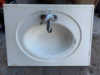 Small porcelain bathroom vanity sink