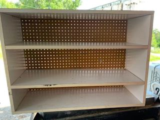 Wood shelves with peg board backing