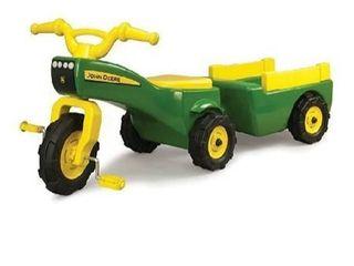 kids John Deer mini tractor and trailer