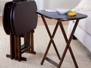 Corbett 4 Piece Oversize Oblong Snack Table Set   Antique Walnut   Winsome
