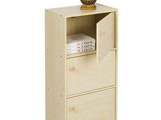 Furinno 11202SBE Pasir 3 Tier Bookcase with Door with Round Handle