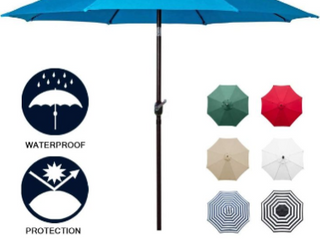 Sunnyglade 9ft Patio Umbrella Durable  rust resistant aluminum Pole  waterproof  vent at top for ventilation     Blue   umbrella base not included