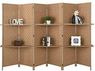 Rose Home Fashion Artist Room Divider color Beige    71x 19 1 inches   1 set 6 PC s  Similar but no shelves   not diamond pattern