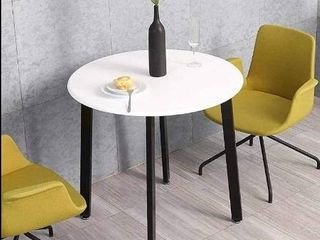 HOMOOI Round Dining Table  White Kitchen Round Table for Small Spaces  Studio Apartment HOMOOI Round Dining