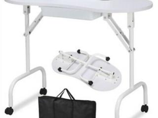 Foldable Manicure Table   Beauty Salon White