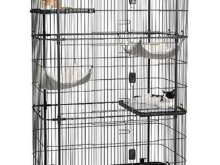 Prevue Pet Products, 4-Tier & 2-Hammock Playpen, Cat Cage, Black, 65-in