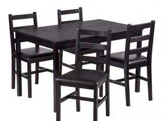 5pcs Dining Table Set Pine Wood Kitchen Dinette Table With 4 Chairs Ds 47   Not Inspected
