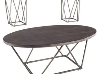 Set of 3 Neimhurst Occasional Table Set Dark Brown   Signature Design by Ashley