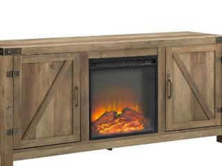 Bison Office 58  Barn Door Fireplace   Color Rustic Oak   Not Inspected