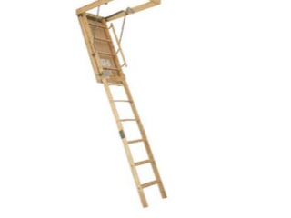 louisville Wood Ceiling Mounted Folding Attic ladder   7 8 x9