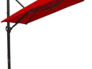 Abba Patio Offset 8 x 10 Patio Umbrella Rectangular Cantilever Outdoor Hanging Umbrella With Crank and Easy Tilt and Cross Base For Garden Deck Backyard Pool    Dark Red