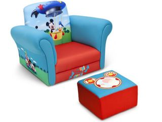 Accent Chairs: Accent Chair: Kids Upholstered Chair And Ottoman Set: Delta Children Upholstered Chair with Ottoman - Disney Mickey Mouse