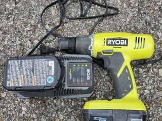 Ryobi 18 volt Drill with Charger and 2 Batteries Tested and Working