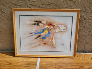Native American Art   Elk Eagle  Signed by Van B St  John Jr 1994  598 1000