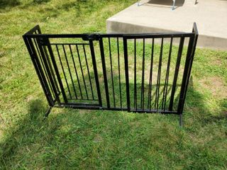 Black Metal Fence Gate with Door  Multi Purposr Extendable