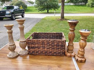 lot of 4 Mantle Candlesticks and Wicker Basket