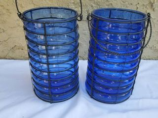 lot of 2 Blue lantern Style Glass Candle Holders