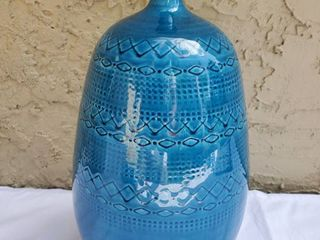 Italian Blue Ceramic Vase with Skinny Neck