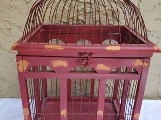 Red Wooden Display Bircage with latch and Top Hook