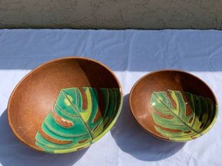 Pair of Ceramic Palm leaf location Shelf 1