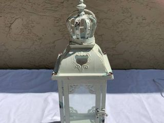 White Metal with Glass Doors lantern Candle Holder location Shelf