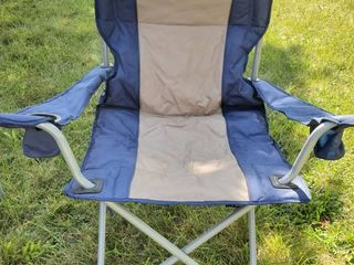 Blue and Tan Collapsible lawn Chair with Cup Holders and Side Pouch