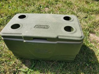 Green Coleman Cooler with Top Cup Holders  Handles and Drain Spout