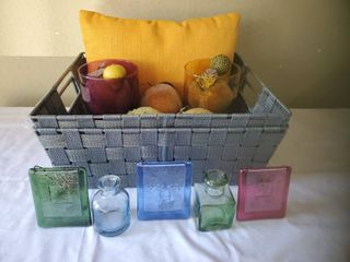 Grey Wooven Baskets and Colorful Home Decor