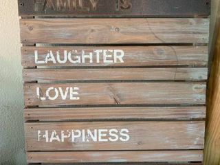 Family Is laughter love Happiness Everything Sign location Shelf 5