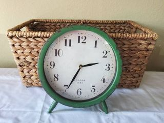 Metal Green london Clock and Wooven Basket