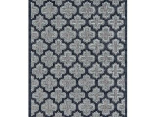 7 6 X10 6  Quatrefoil Design loomed Area Rugs Black Charcoal   Weave   Wander