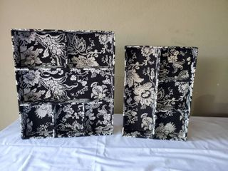 Black and White Floral Vanity Organizers