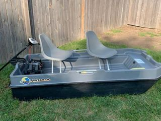 Sun Dolphin Sportsman Two Person Fishing Boat With Minn Kota Endura 36 Trolling Motor location Storage