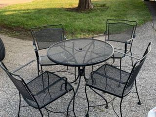 Wrought Iron Patio Table and 4 Chairs location Storage